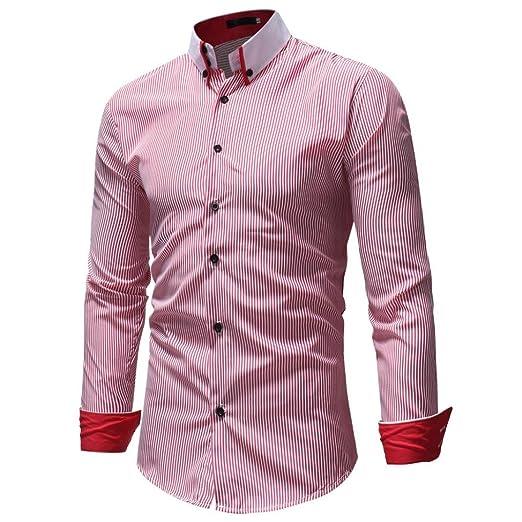 Camisas hombre Las rayas del otoño y del invierno de los hombres imprimieron tapas de la camisa,YanHoo® Casual manga larga camisa negocio Slim Fit Camisas ...