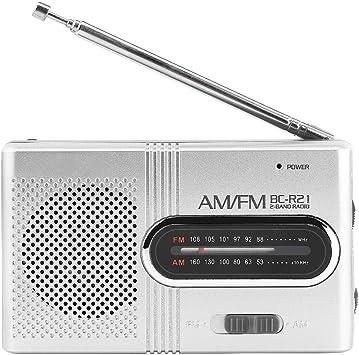 BC-R21 Altavoz Portátil con Radio Am/FM Mini Radio Receptor FM con Auriculares/Antena Telescópica/Altavoz para Caminar Senderismo Running