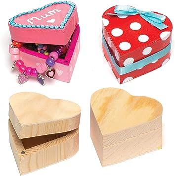 Baker Ross- Cajas de Madera para Recuerdos con Forma de Corazón para Decorar (Pack de 4) -Manualidades infantiles: Amazon.es: Juguetes y juegos