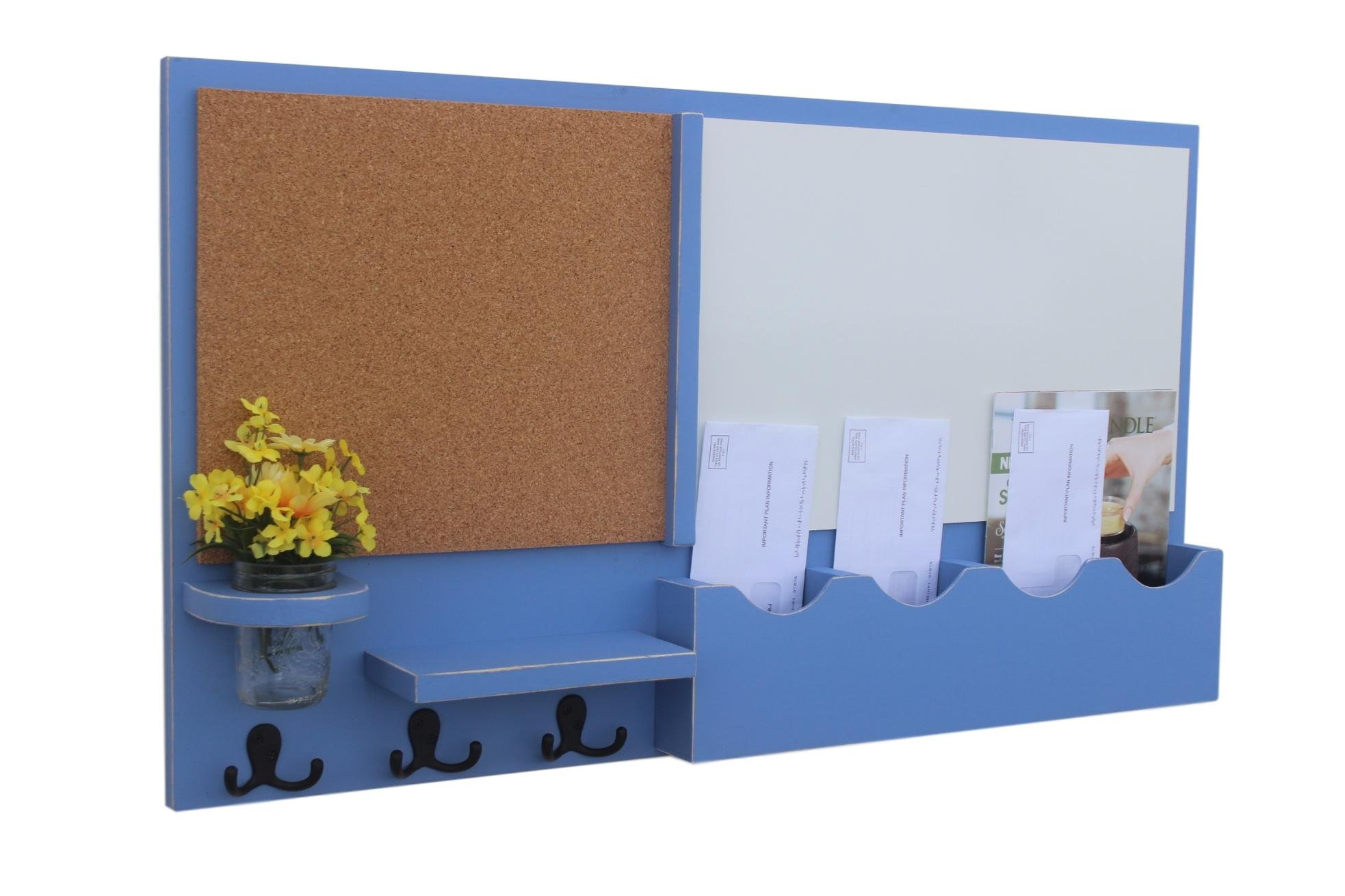Legacy Studio Décor Message Center with White Board & Cork Board Mail Slots Key Hooks Mason Jar (Distressed, Ocean)