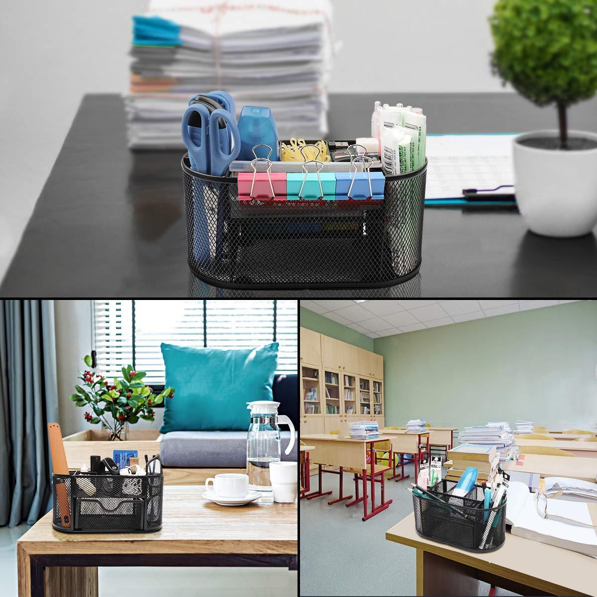 Organizer da scrivania in rete da usare in ufficio a casa e a scuola Portaoggetti da scrivania 11 x 22 x 10.6 cm Nero