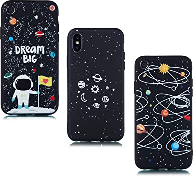 ChoosEU Compatible con 3X Fundas iPhone XR Silicona Negro Dibujos Creativa Carcasas para Chicas Mujer Hombres TPU Case Antigolpes Bumper Cover Caso Protección - Espacio, Astronauta: Amazon.es: Deportes y aire libre