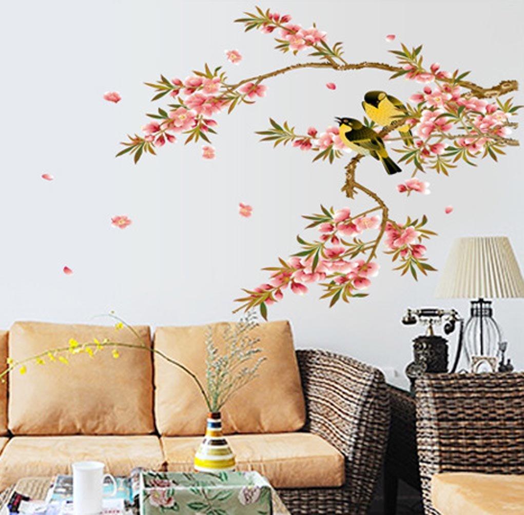 Amazon Com Bibitime Peach Blossom Wall Stickers Tree 2 Orioles