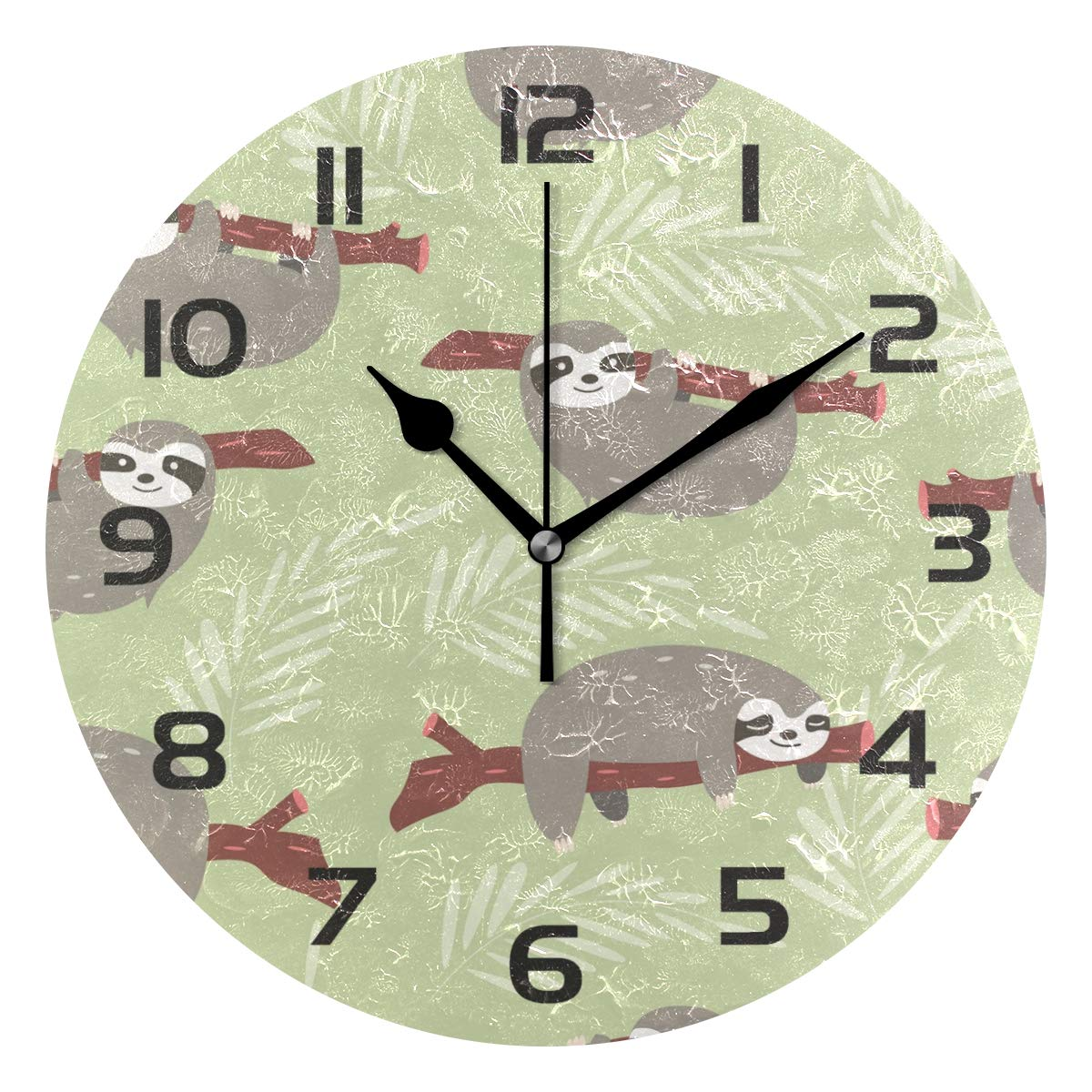 TropicalLife Cute Sloth Decorative Wall Clock Acrylic Round Clocks Non Ticking Art Decor Bedroom Living Room Kitchen Bathroom Office School