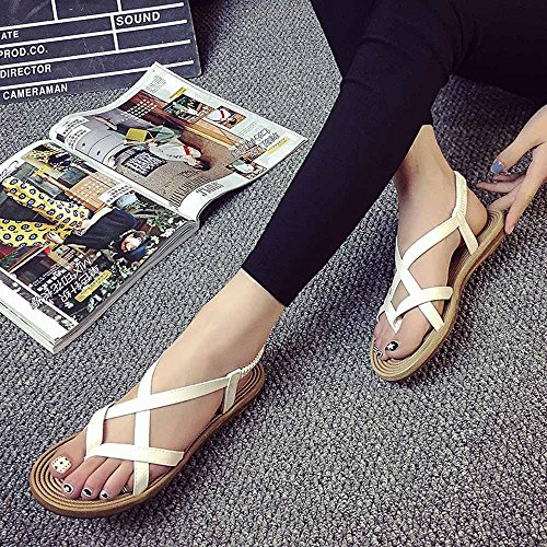 Leisure Shoes Women Sexy White Summer Fashion Women Outdoor Sandals Lady Bandage Shoes Flat Putars 47w8q