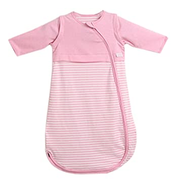 c4c850ca08 Amazon.com  LETTAS Baby Boys Cotton Stripe Sleeping Bag Wearable Blanket  with Removable Sleeve 0.5 Tog (Pink