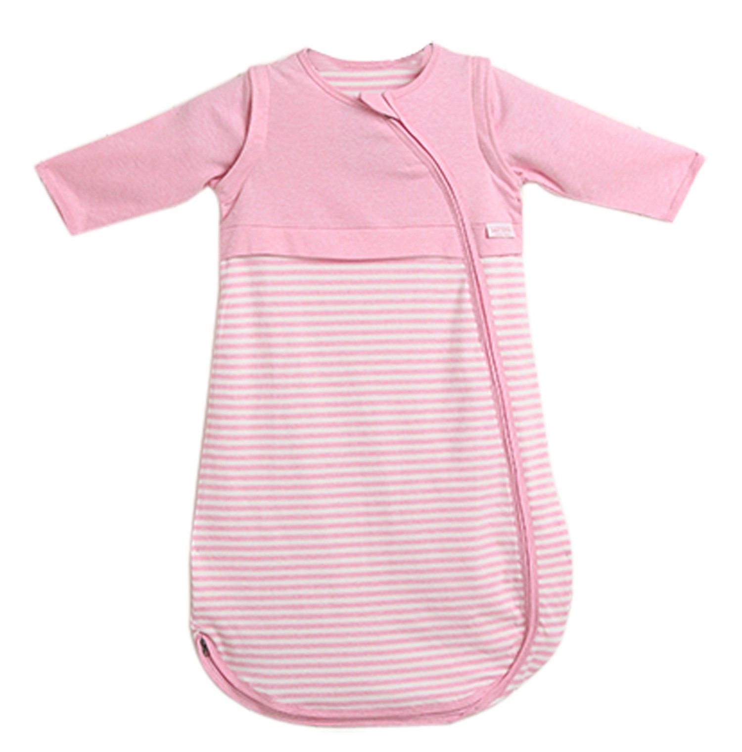 LETTAS Baby Girls 100% Cotton Stripe Removable Sleeve Sleeping Bag 0.5 Tog - Soft Wearable Blanket Pink (12-24 Months)
