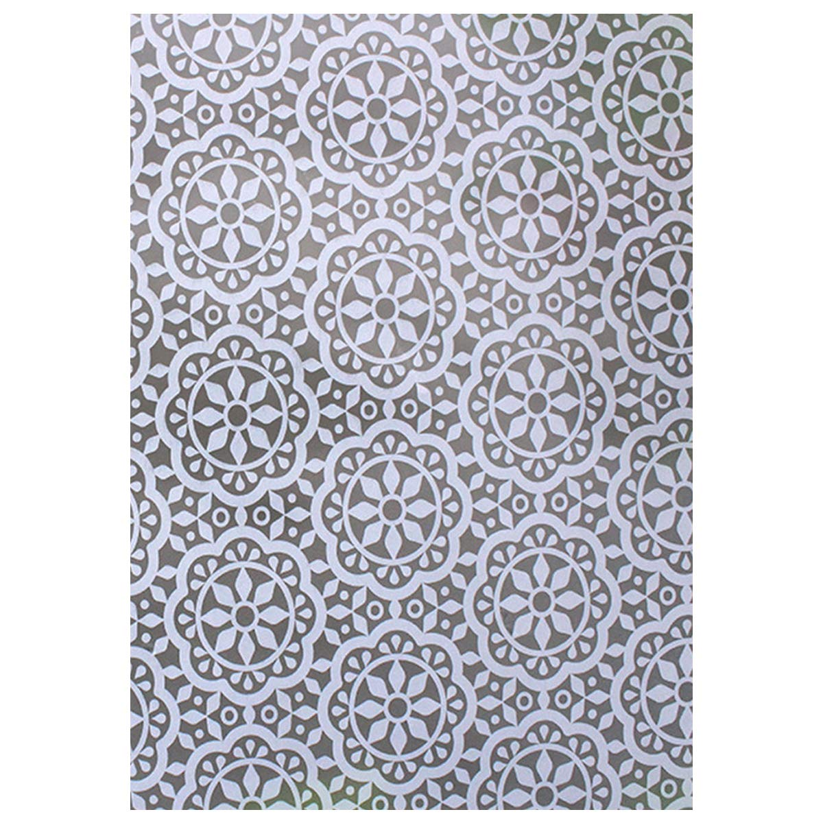 COOJA Privacy Window Film, Obscure Opaque Static Cling Window Film Self Adhesive Glass Film UV Protection Film Floral Decorative Window Stickers 45x200cm -Geometric Pattern