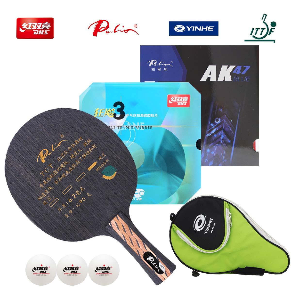 DHS ハンドアセンブリ プロフェッショナル 卓球ラケット プロ仕様 ピンポンラケット 組み合わせ パリオTCT 卓球用ブレード NEO ハリケーン 3パリオ AK47 ブルースタイルゴム B07JLHTWMQ