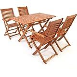 Salon de jardin en bois d'acacia - Ensemble table et chaise pliable Extérieur