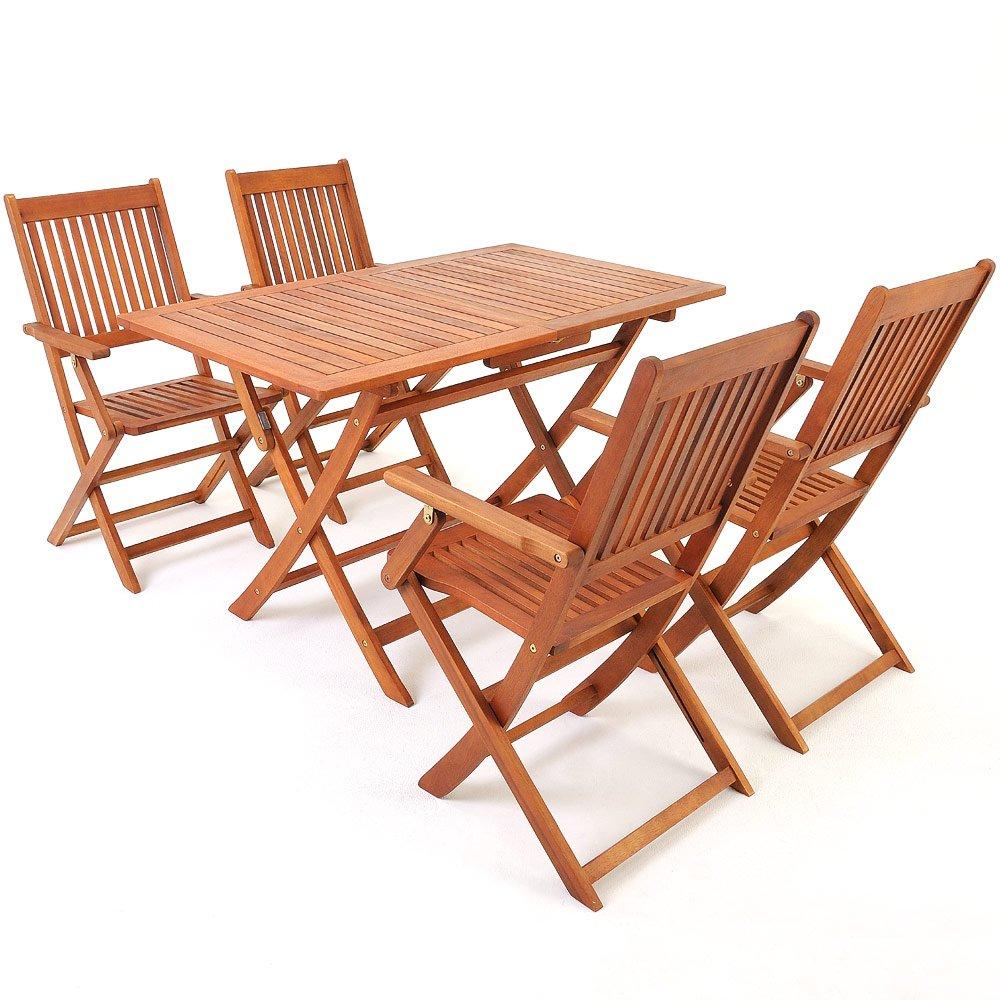 deuba sitzgruppe sydney mit 4 klappbaren st hlen und tisch aus akazienholz sitzgarnitur. Black Bedroom Furniture Sets. Home Design Ideas