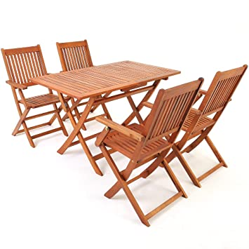 Salon de jardin en bois d\'acacia - Ensemble table et chaise pliable ...