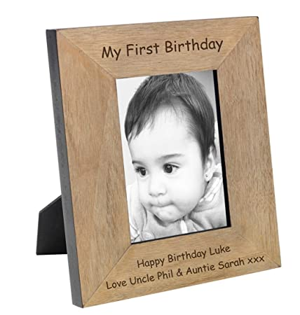 Cellini Gifts Personalised Wooden Photo Frame 1st Birthday Unique Keepsake Gift To Treasure Forever