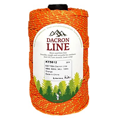 emma kites 300lbs / 500lbs Orange Braided Dacron Polyester String Cord Spool Kite Line for Large Kite Flying Outdoor Tactical Craft UV Resistant Low Stretch Heavy Duty (500lb 500ft/150Meter): Sports & Outdoors