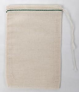 Made in The USA Cotton Muslin Drawstring Bags 50 (Green Hem Natural Drawstring, 4x6)