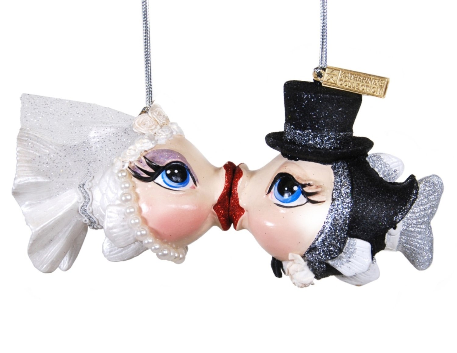 Kissing fish ornament - Amazon Com Getting Hooked Bride And Groom Kissing Fish Christmas Holiday Ornaments Set Of 2 Home Kitchen