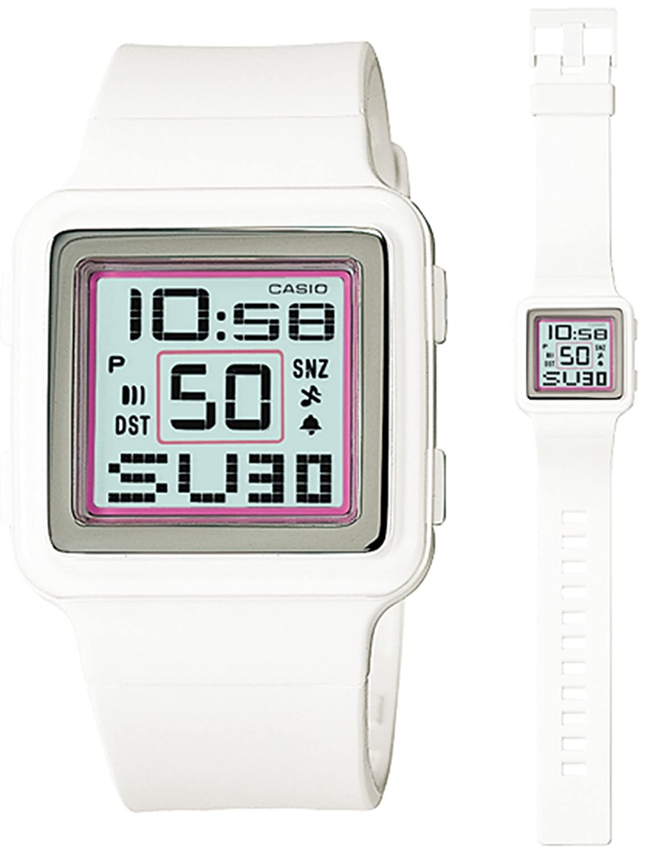 Casio Digital Poptone White Resin Grey Dial Women s watch LDF20-7AV
