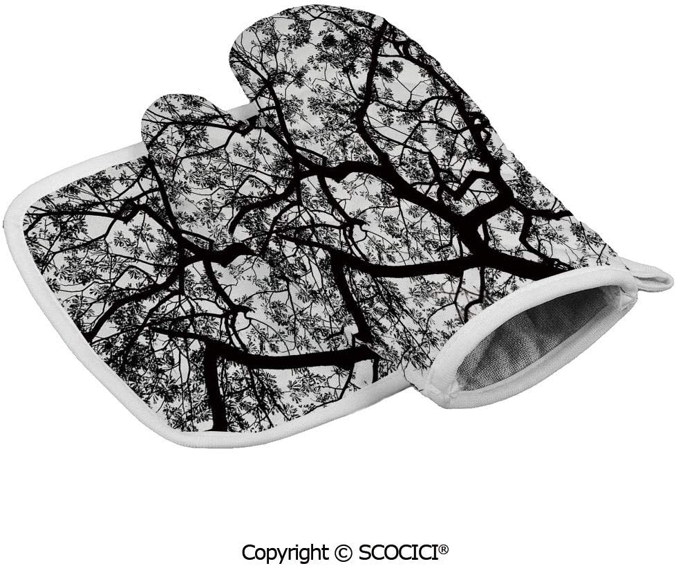SCOCICI Oven Glove Microwave Glove Forest Tree Branches Modern Decor Spooky Horror Themed Barbecue Glove Kitchen Cooking Bake Heat Resistant Glove Combination