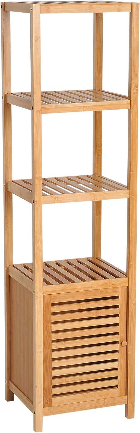 HOMCOM Estantería de Bambú para Baño Armario Alto Librería Organizador 4 Niveles 1 Puerta 36x33x140cm