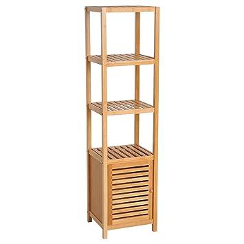HOMCOM Estantería de Bambú para Baño Armario Alto Librería Organizador 4  Niveles 1 Puerta 36x33x140cm abd247e484c7