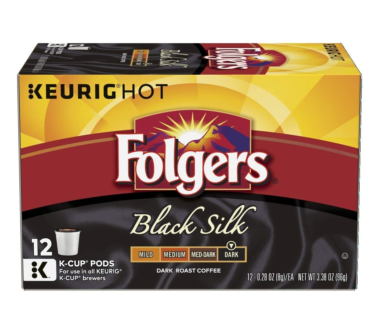 Folgers Black Silk Coffee, Dark Roast, K-Cup Pods for Keurig K-Cup Brewers (288 Pods) by Folgers