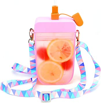 Cute Kids Water Bottles with Straws, Creative Ice Cream Popsicle Leakproof Plastic Drink Water Bottles, BPA Free Water Jug, Adjustable Shoulder Strap, for Outdoor Camping Sports Travel, 10 oz (Pink)