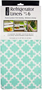 """DII Non Adhesive Cut to Fit Machine Washable Fridge Liner For Drawers, Bins, Trays, Protect Produce, Set of 6, 12 x 24"""" - Aqua Lattice"""