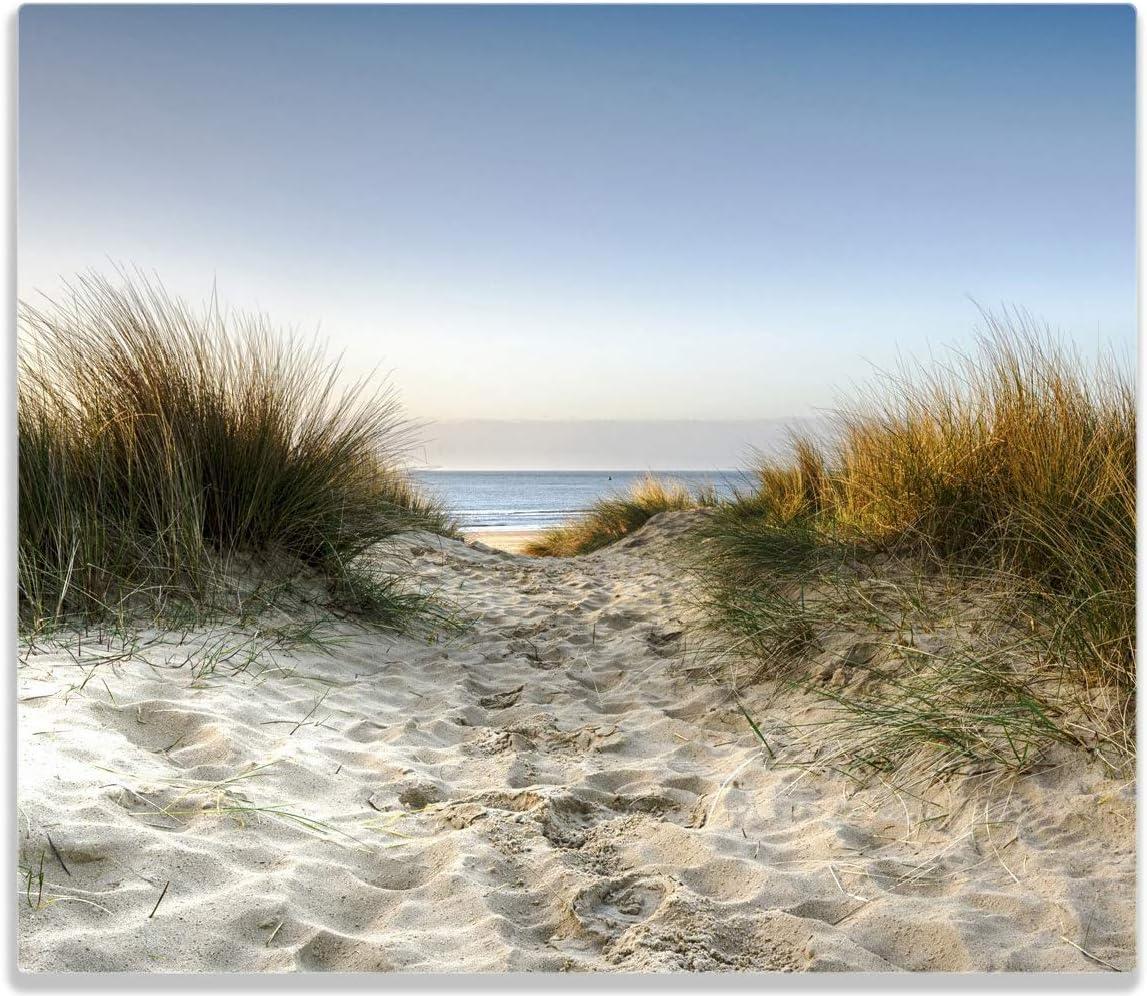 f/ür Ceran- und Induktionsherde 1-teilig Weg durch die D/ünen zum Strand am Meer Wallario Herdabdeckplatte//Spritzschutz aus Glas 52x60cm
