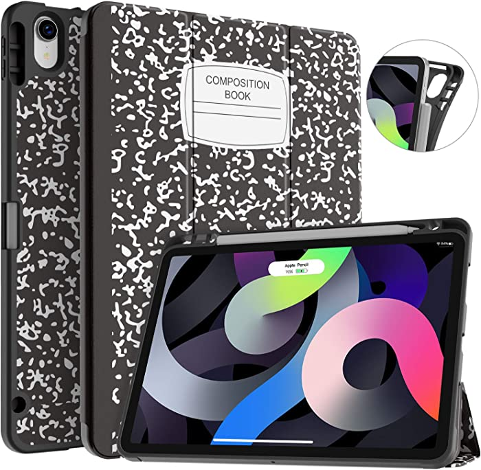 Soke Case for iPad Air 4 10.9 Inch 2020 / iPad Pro 11 2018 with Pencil Holder - [Full Body Protection + Apple Pencil Charging], Soft TPU Cover for New iPad Air 4th Gen,Book Black