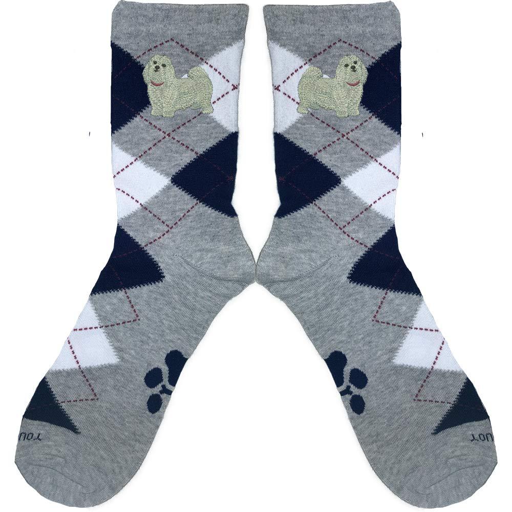 Maltese Embroidered Argyle Socks