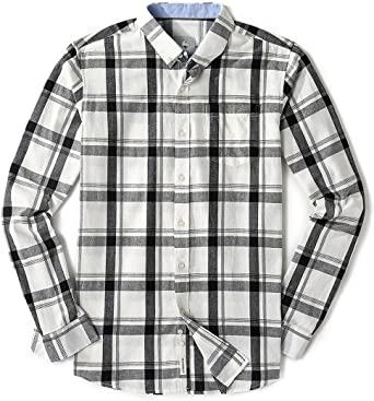 X-Future Men Casual Tartan Plus Size Button Up Loose Long Sleeve Button Down Dress Shirt