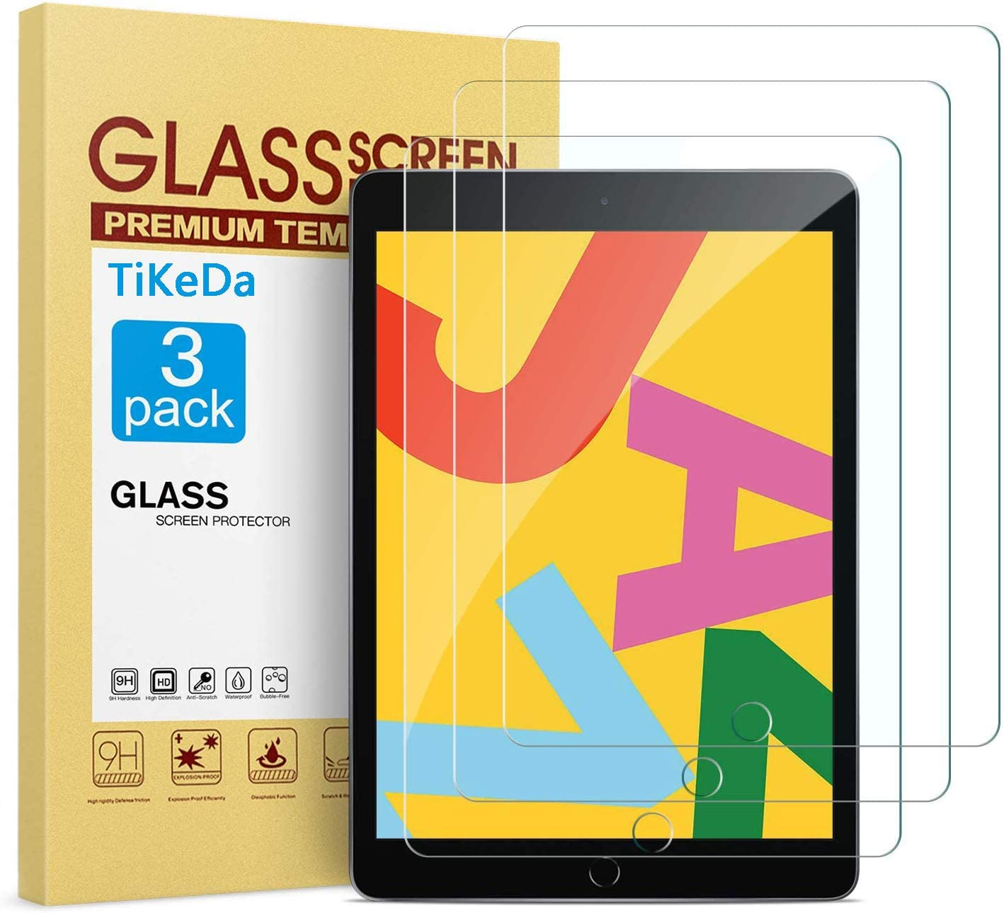 TiKeDa [3 PACK] Screen Protector for iPad 10.2 inch 2020/2019,Tempered Glass Screen Protector for iPad 7th 8thGeneration - Apple Pencil Compatible