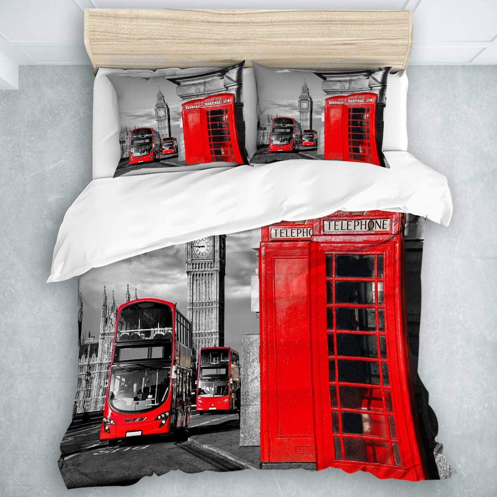 MOASTORY 3 Piece Duvet Cover Set, London Telephone Booth in The Street Traditional Local Cultural Icon England UK Retro Theme, Duvet Comforter Cover Set, Queen Size
