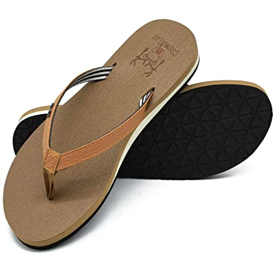 KuaiLu Womens Flip Flops with Arch Support Flat Non-Slip Rubber Outsole Indoor Outdoor Yoga Foam Thong Sandals