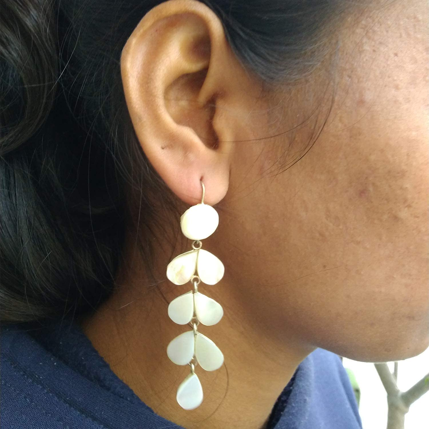 India Meets India Handmade Crafted Real Sea Shell Earrings Leaf Design Lightweight Jewelry