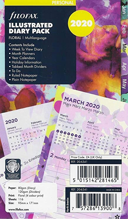 Filofax - Recambio para agenda (2020), diseño floral: Amazon ...