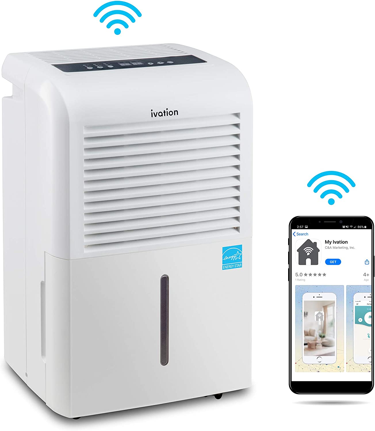 Ivation 4,500 Sq Ft Smart Wi-Fi Energy Star Dehumidifier with Pump and App, Includes Continuous Draining Hose Connector, Programmable Humidistat and 2.25 Gal Reservoir and for Medium and Large Rooms