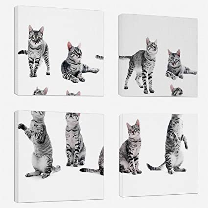 37ca0a9e4 4pcs/set Modern Painting Canvas Prints Wall Art For Home Decoration Cat  Lover Decor Print