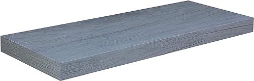 Home Basics Rectangle Floating Wood Shelf for Living Room, Bedroom, Bathroom, Kitchen, Trendy Modern Home D cor Organization, 24 Long, Grey