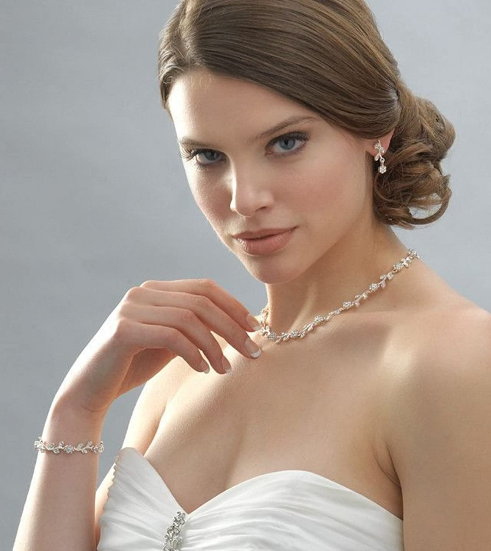 Brautschmuck armband blumen  Schmuckanthony Best Seller Hochzeit Silber Versilbert Brautschmuck ...