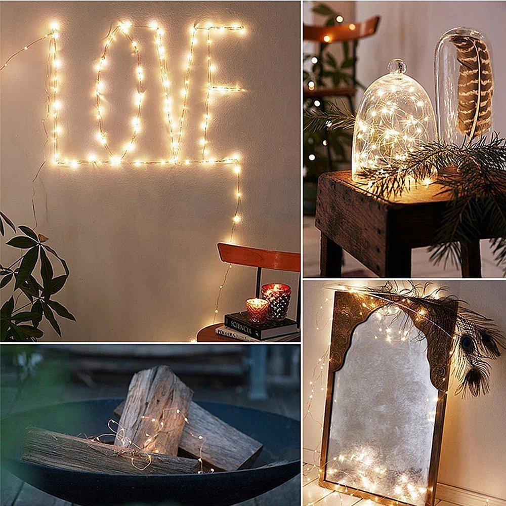 ELINKUME LED Guirlande Lumineuse Puissance de la Batterie Blanc Chaud F/ée lampe Propuls/é 50LEDs 16,4 pi Fil de Cuivre Twinkle LED Lampe pour la D/écoration Bricolage