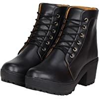 Zapatoz Presents Women's/Ladies/Female/Girls Trendy Fashionable Lightweight & Comfortable Partywear, Casualwear Black High Ankle Length Lace-Up Boots for Women Stylish, Shoes_(9607)