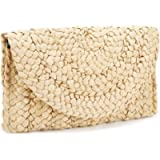 iPobie Straw Clutch Bag,Women Straw Weave Handbag Envelope Flat Summer Clutch Purse Beach Bag