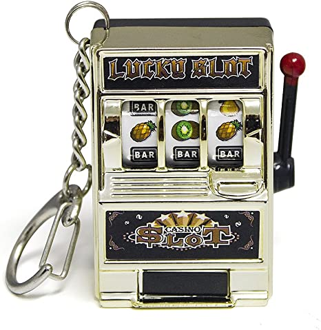Balvi Schlüsselanhänger Las Vegas Geformter Spielautomat Plastik Metall 4 8cm Küche Haushalt