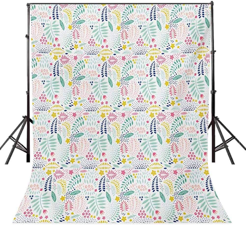 Floral 6.5x10 FT Backdrop Photographers,Abstract Leaves with Vibrant Colors Dots Curves Foliage Design Stars Petals Nature Background for Party Home Decor Outdoorsy Theme Vinyl Shoot Props Multicolor