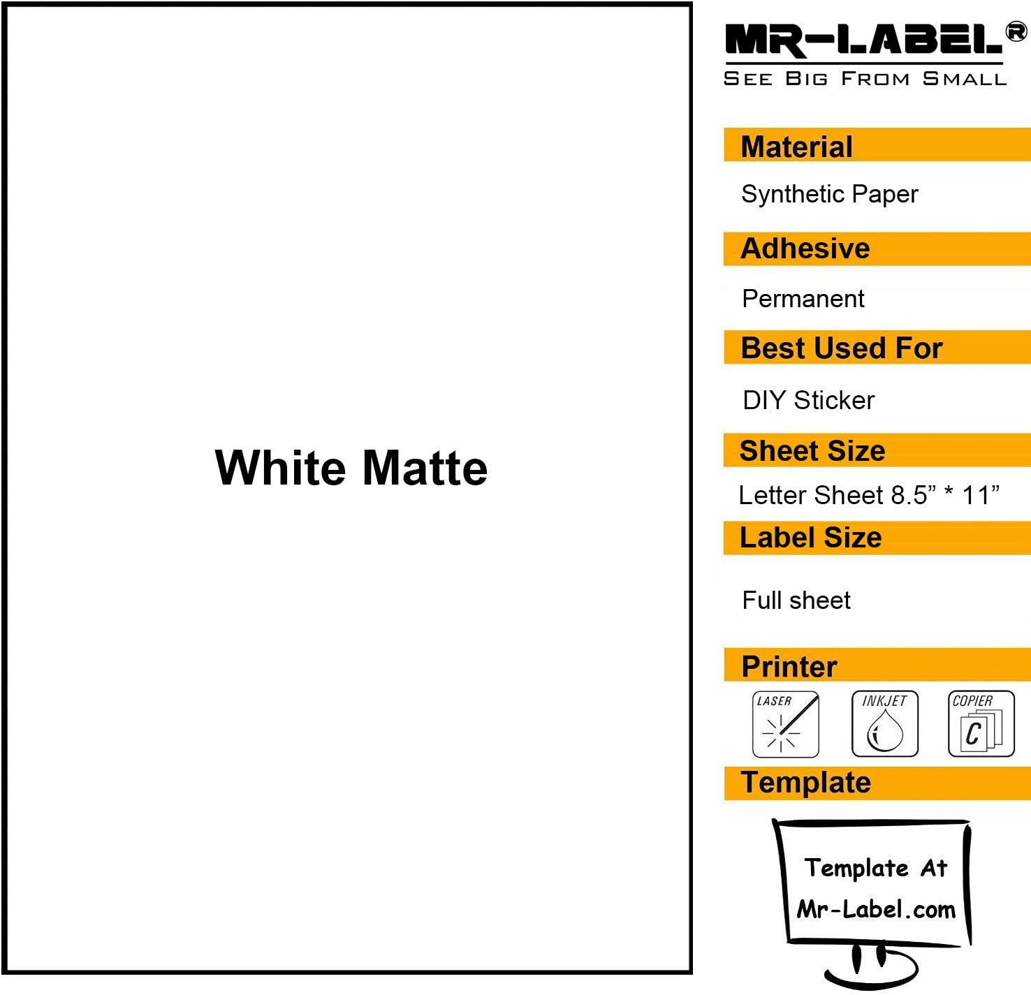 Mr-Label White Matte Waterproof Vinyl Sticker Paper - Full Letter Sheet Label - Inkjet/Laser Compatible - for Home Business (25 sheets/25 Labels)