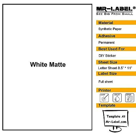 amazon com mr label white matte waterproof vinyl sticker paper
