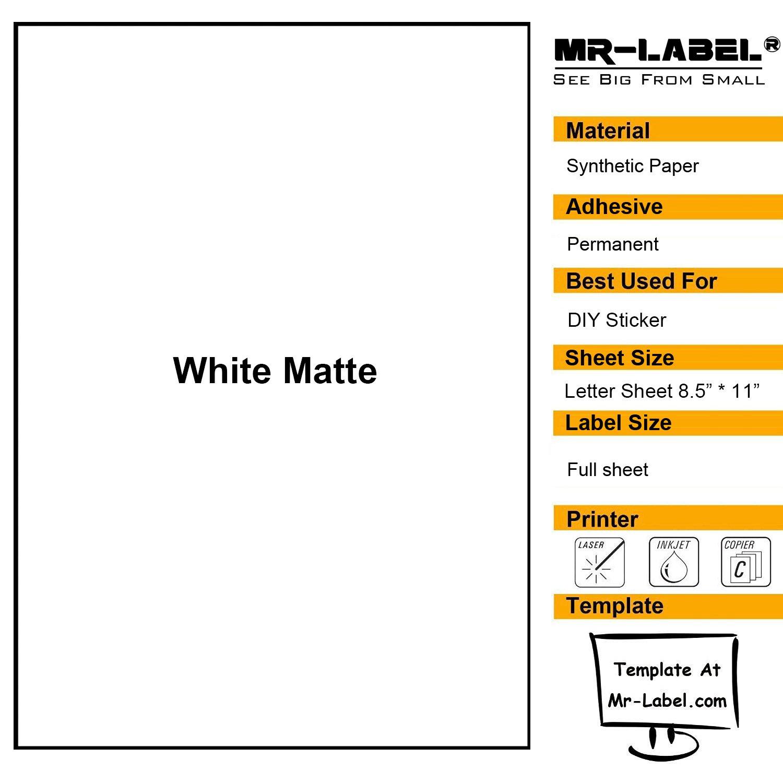 Mr-Label White Matte Waterproof Vinyl Sticker Paper - Full Letter Sheet Label - Inkjet/Laser Compatible - for Home Business (10 sheets/10 labels)