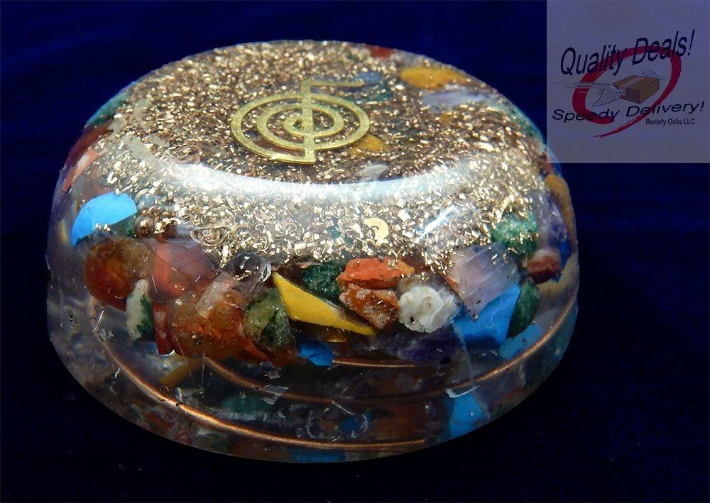 Charged Chakra Orgone Dome Disk with symbol 2.5 inches Gemstones Copper Metal Mix Reiki Chakra (Choko Reiki Symbol)