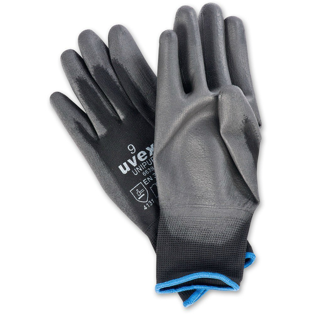 10 PAIRS Of Uvex Unipur Handling Gloves. Abrasion-Resistant Gripper Work Gloves. PU Coated Palms. Sizes Small(7) - XXL (11)